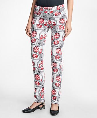 Stretch-Cotton Tulip Printed Five-Pocket Pants