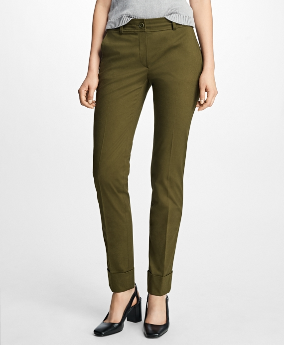 Cuffed Cotton Twill Trousers