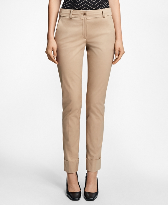 Cuffed Cotton Twill Trousers Tan