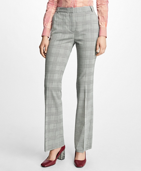 Stretch-Wool Glen Plaid Trousers Grey