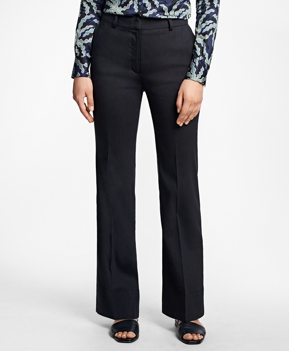 Wide-Leg Stretch Linen-Blend Pants Navy