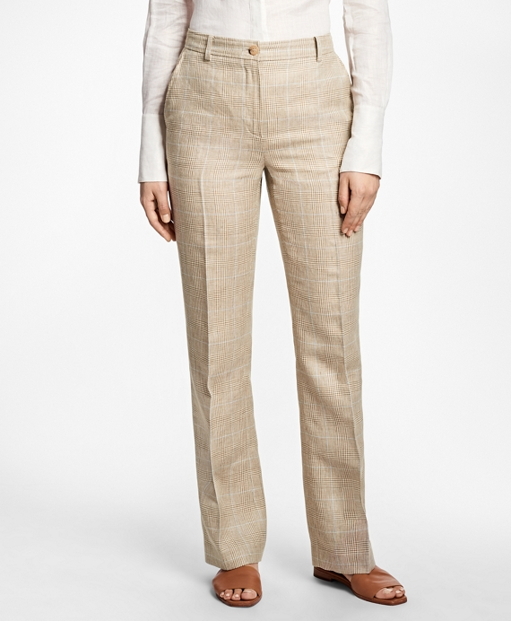 Plaid High-Waisted Wool-Linen Pants Brown