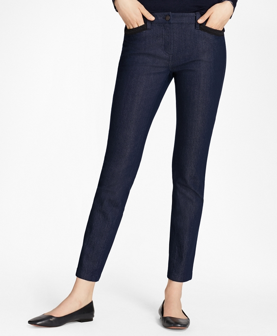 Soutache-Trimmed Denim Pants