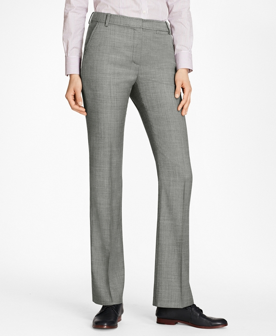 Sharkskin Stretch Wool Trousers Grey