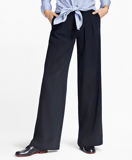 Matte Satin Wide-Leg Pants