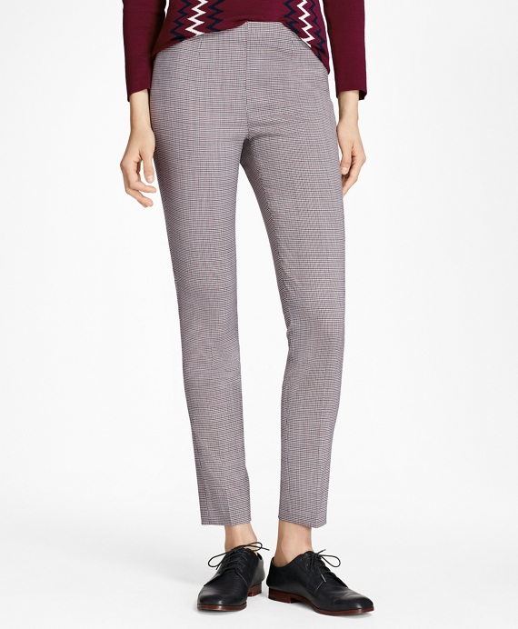 Micro-Plaid Stretch Wool Slim-Fit Pants Black-Red