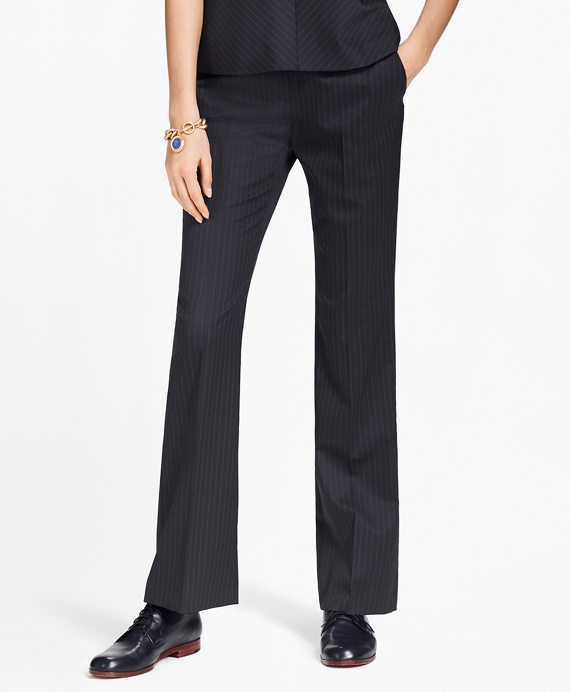 Pinstripe Stretch-Wool Pants Navy
