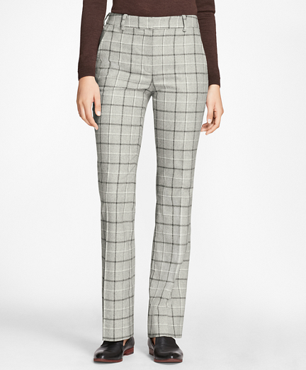 Windowpane Stretch-Wool-Cashmere Pants
