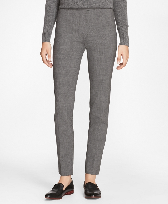 Slim-Fit Micro-Houndstooth Stretch-Wool Pants Grey