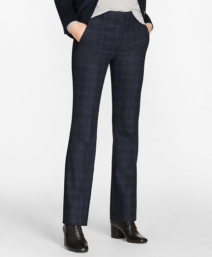 Plaid Stretch-Wool Pants