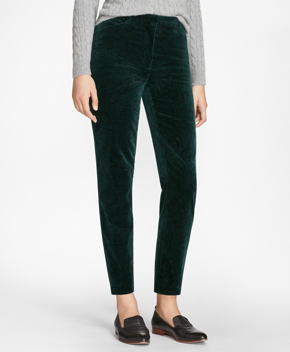 Slim-Fit Paisley-Print Velvet Pants Dark Green