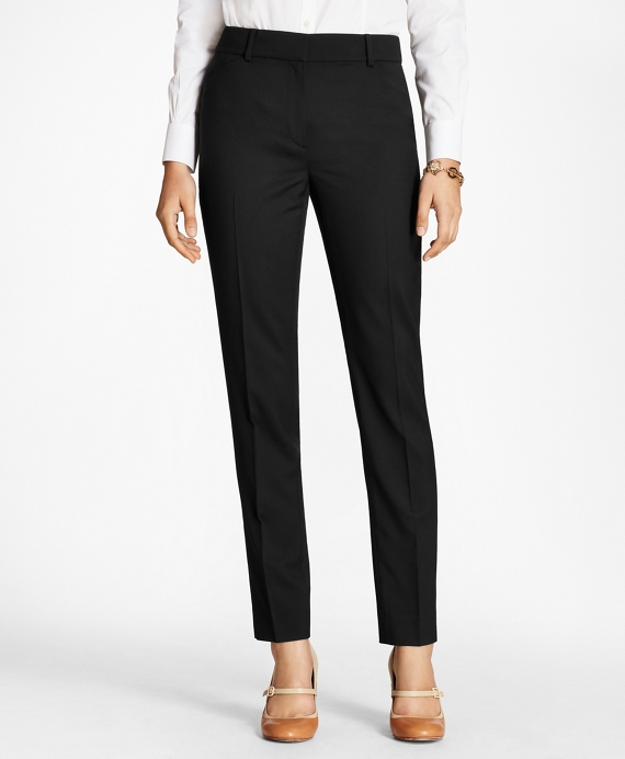 Stretch-Wool Double-Weave Pants Black