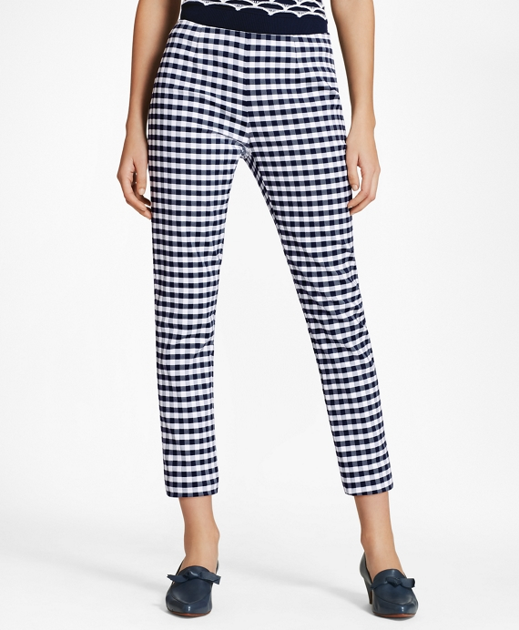 Slim-Fit Gingham Double-Weave Pants Navy