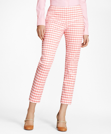 Slim-Fit Gingham Double-Weave Pants