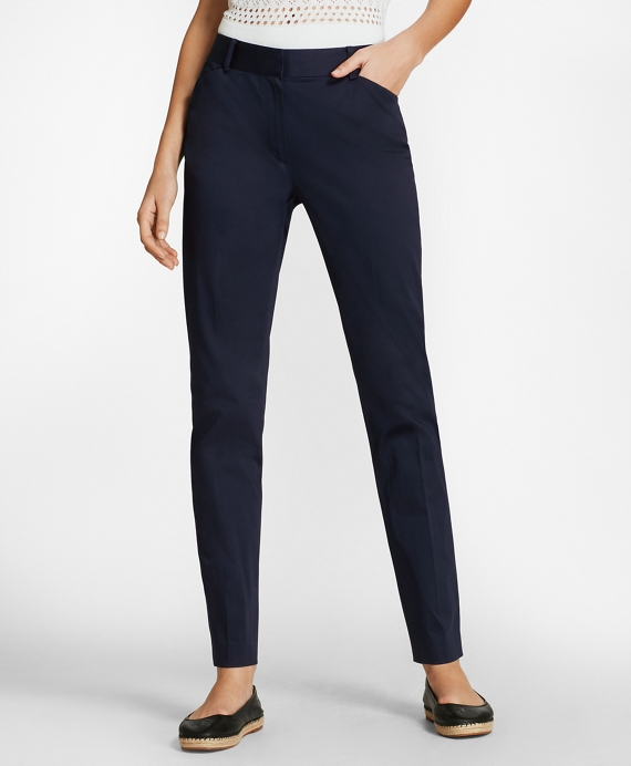Stretch Cotton Sateen Ankle Pants Navy