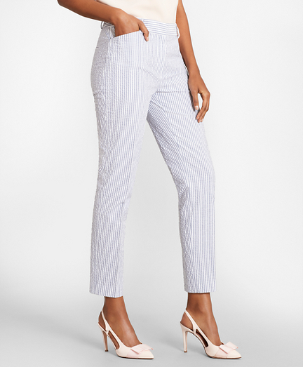 Striped Stretch Cotton Seersucker Pants