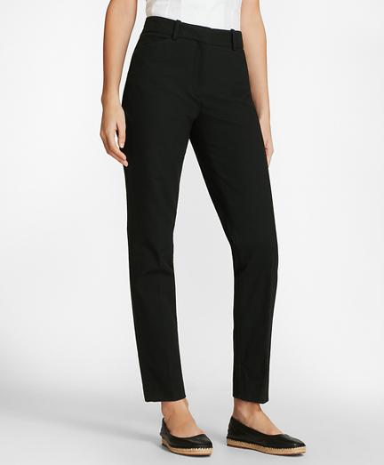 Stretch Cotton Pique Ankle Pants