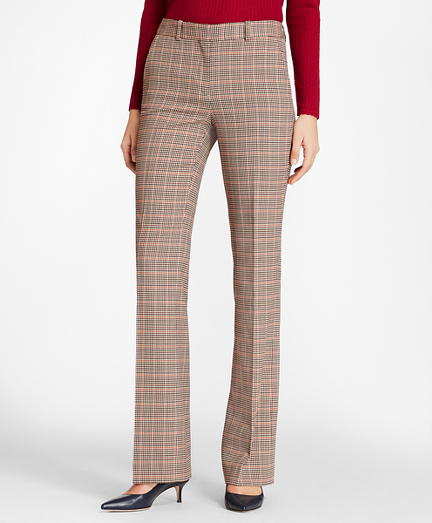 Houndstooth-Checked Stretch-Wool Pants