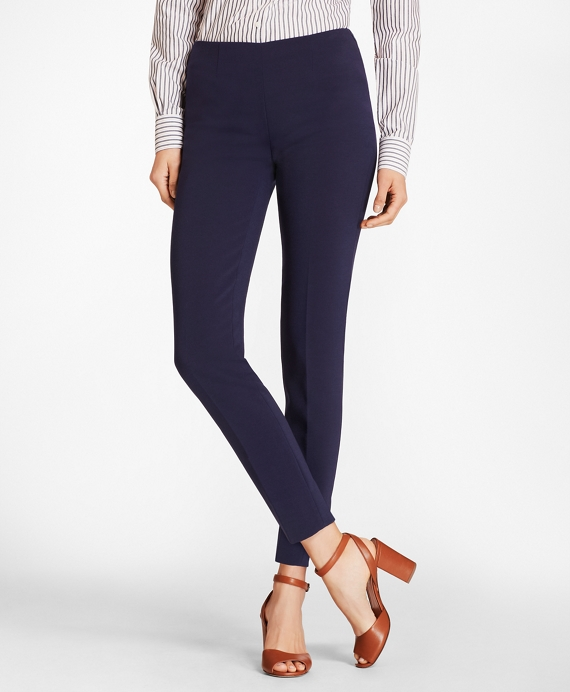Double-Weave Crepe Ankle Pants Navy