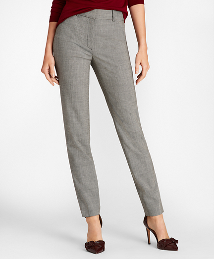 Mini Houndstooth Stretch Wool Slim-Fit Ankle Pants