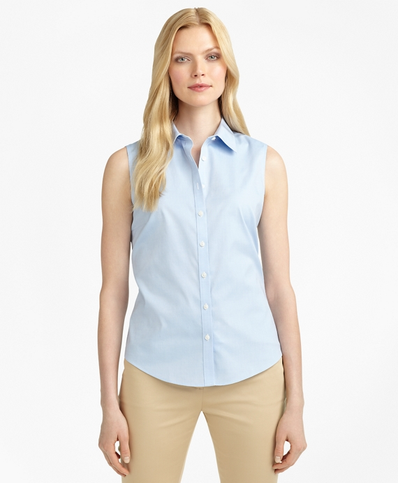 Non-Iron Fitted Sleeveless Dress Shirt Blue