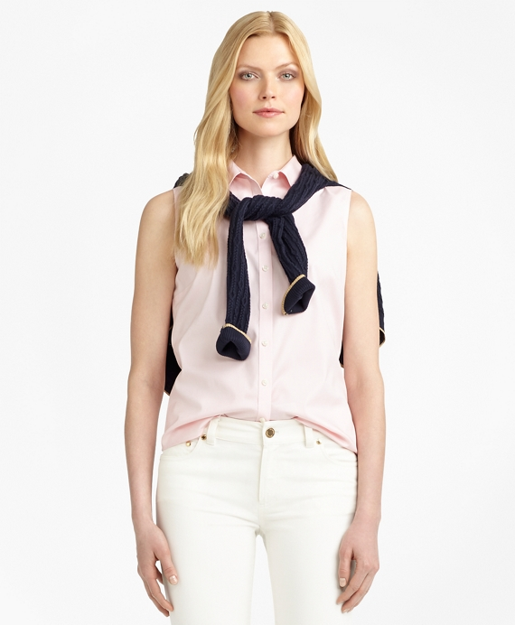 Non-Iron Fitted Sleeveless Dress Shirt Pink