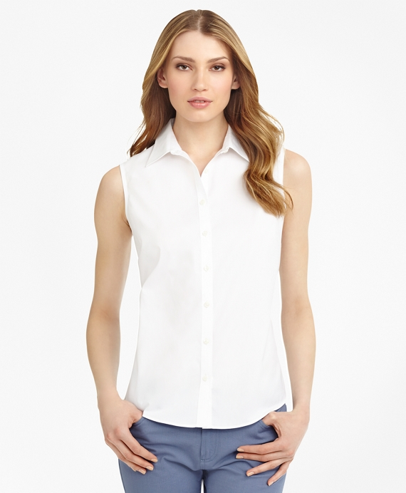 Non-Iron Fitted Sleeveless Dress Shirt White