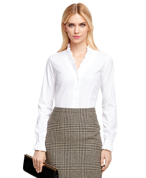 Women's Non-Iron Fitted White Ruffle Collar Dress Shirt | Brooks ...