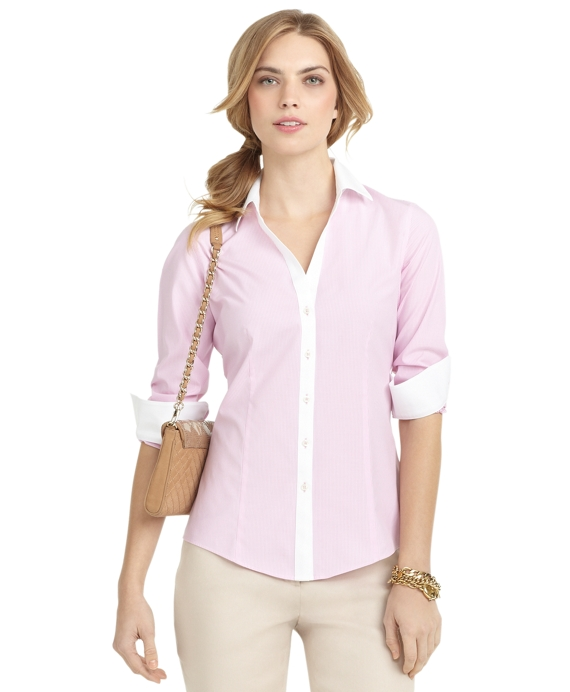 Non-Iron Fitted Striped Dress Shirt Pink