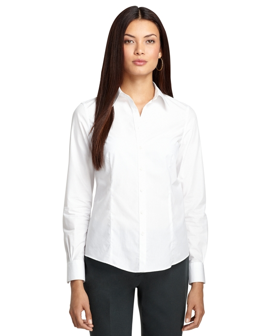 Women 39 s tailored fit luxury white pinstripe dress shirt for Fitted white dress shirt womens