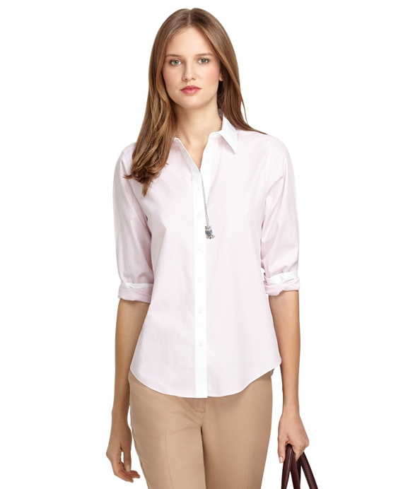 Classic Fit Non-Iron Stripe Dress Shirt Pink