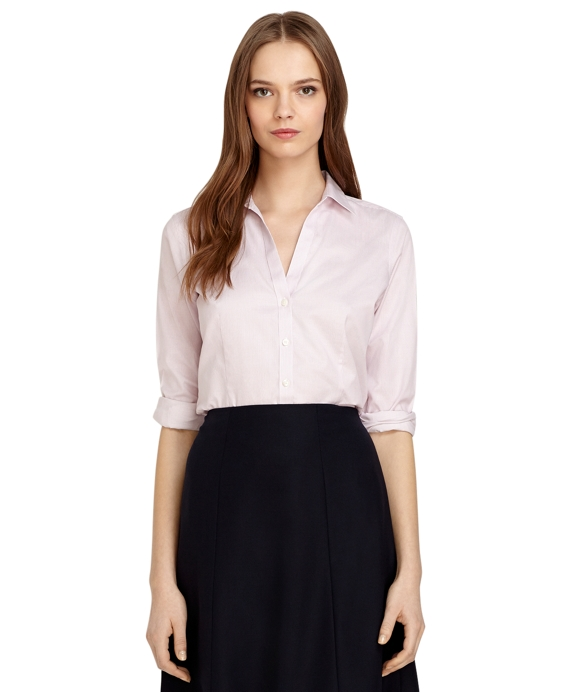 Fitted Non-Iron Fine Stripe Dress Shirt Pink