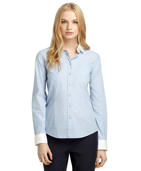 Women's Blue Dotted and Striped Shirt | Brooks Brothers