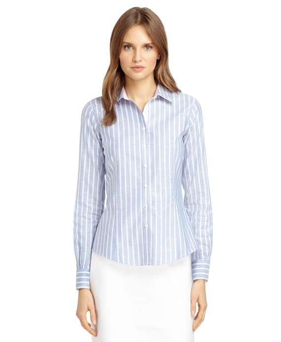 Non iron tailored fit supima cotton double framed stripe for Supima cotton dress shirts