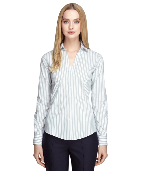 Women 39 S Non Iron Fitted Striped Dress Shirt Brooks Brothers