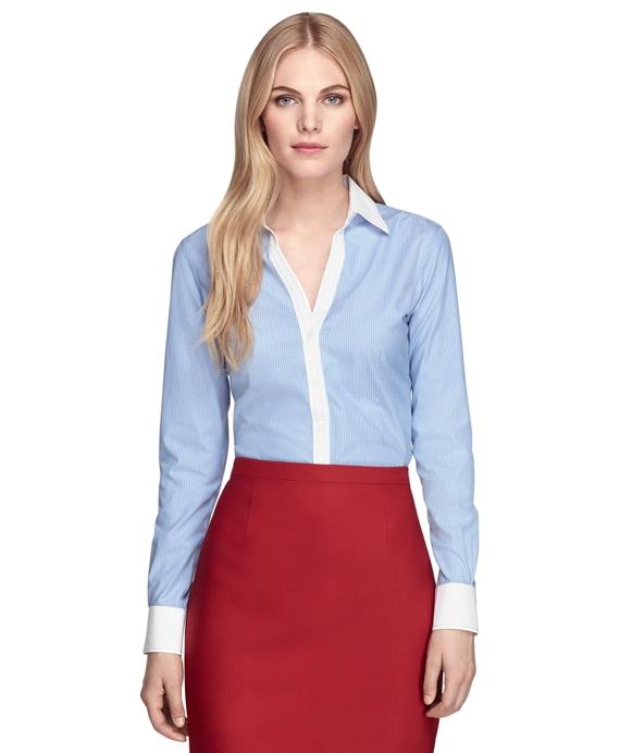 Women 39 S Non Iron Fitted Pinstripe Dress Shirt Brooks