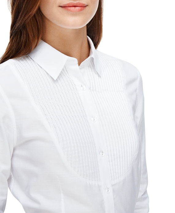 huge range of coupon code hot sales Women's Non-Iron Fitted White Tuxedo Dress Shirt   Brooks ...