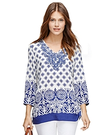 Silk Three-Quarter Sleeve Medallion Print Tunic