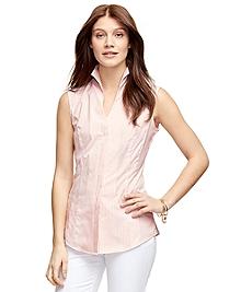 Stripe Cotton Sleeveless Shirt