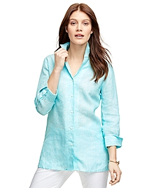 Three-Quarter Sleeve Linen Shirt