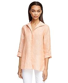 Three-Quarter Sleeve Linen Shirt