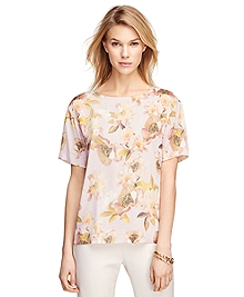 Short-Sleeve Floral Silk Blouse