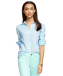 Classic Fit Linen Gingham Shirt