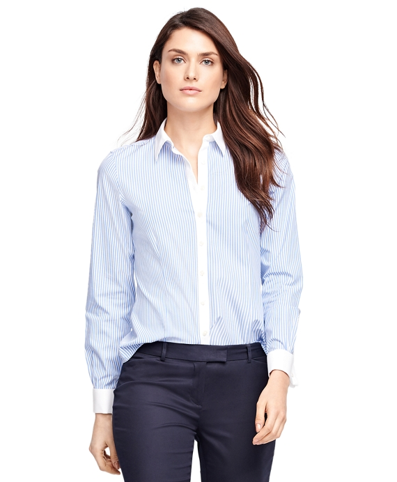 Women 39 s non iron tailored fit striped dress shirt brooks for Tailoring a dress shirt
