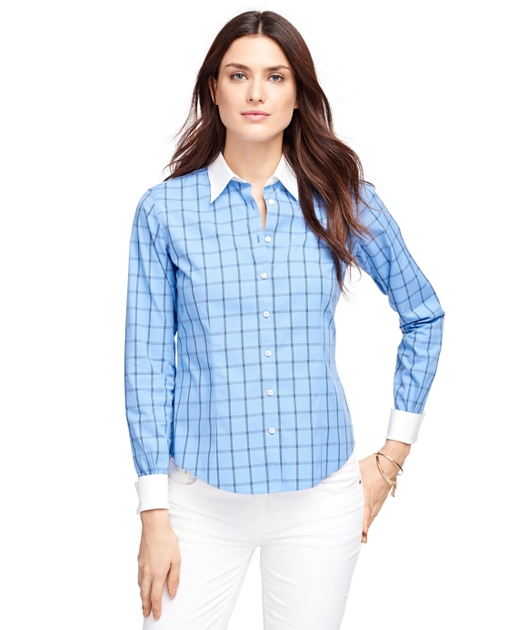 Women 39 S Non Iron Fitted Blue Windowpane Dress Shirt