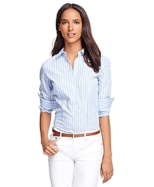 Non-Iron Fitted Supima® Cotton Stripe Dress Shirt