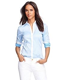 Tailored Fit Cotton Herringbone Dress Shirt