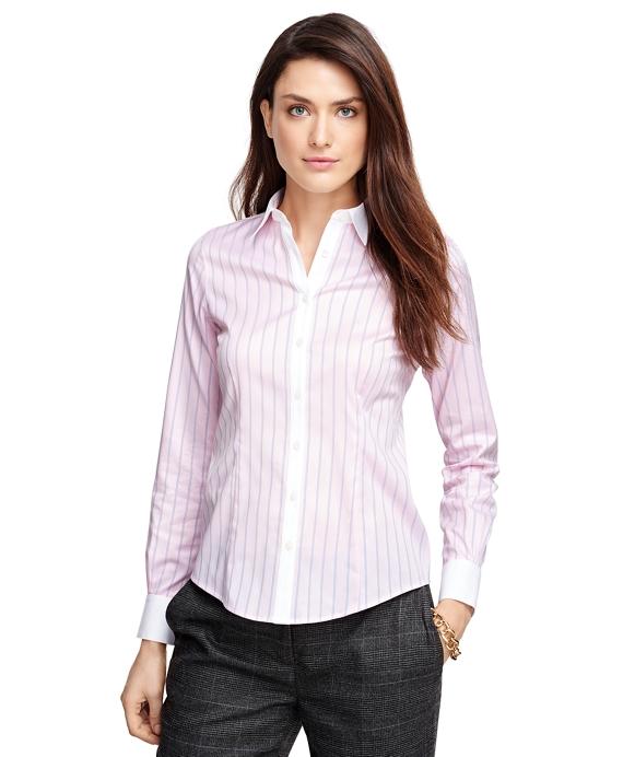 Tailored Fit Cotton Herringbone Dress Shirt Pink