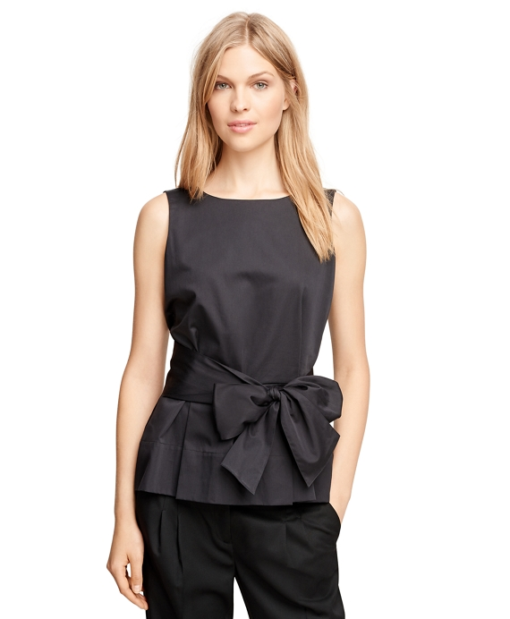 Cotton Sleeveless Shirt with Bow Black