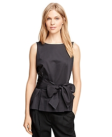 Cotton Sleeveless Shirt with Bow